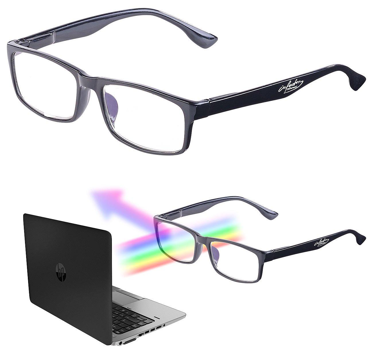infactory Bildschirmbrille: Augenschonende Bildschirm-Brille mit Blaulicht-Filter, 2,0 Dioptrien (Blaulichtfilterbrillen)