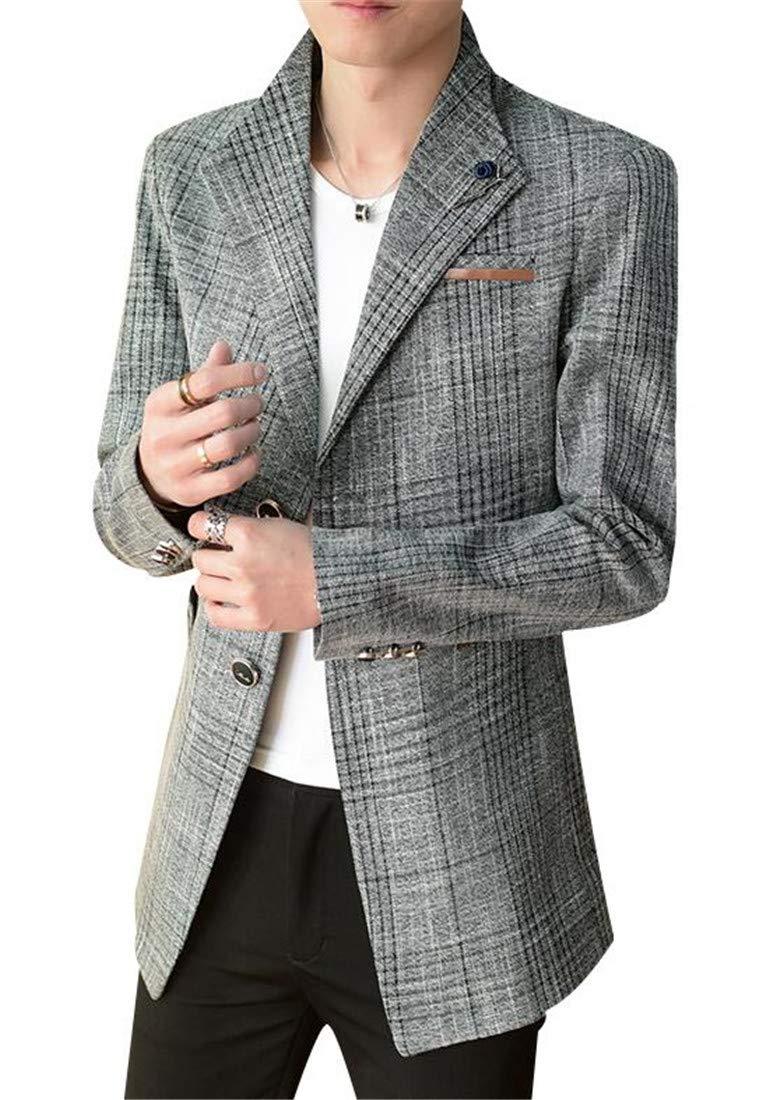 Domple Mens Lapel Slim Wool Blend Two Button Longline Dress Blazer Jacket Sport Coat Grey US M