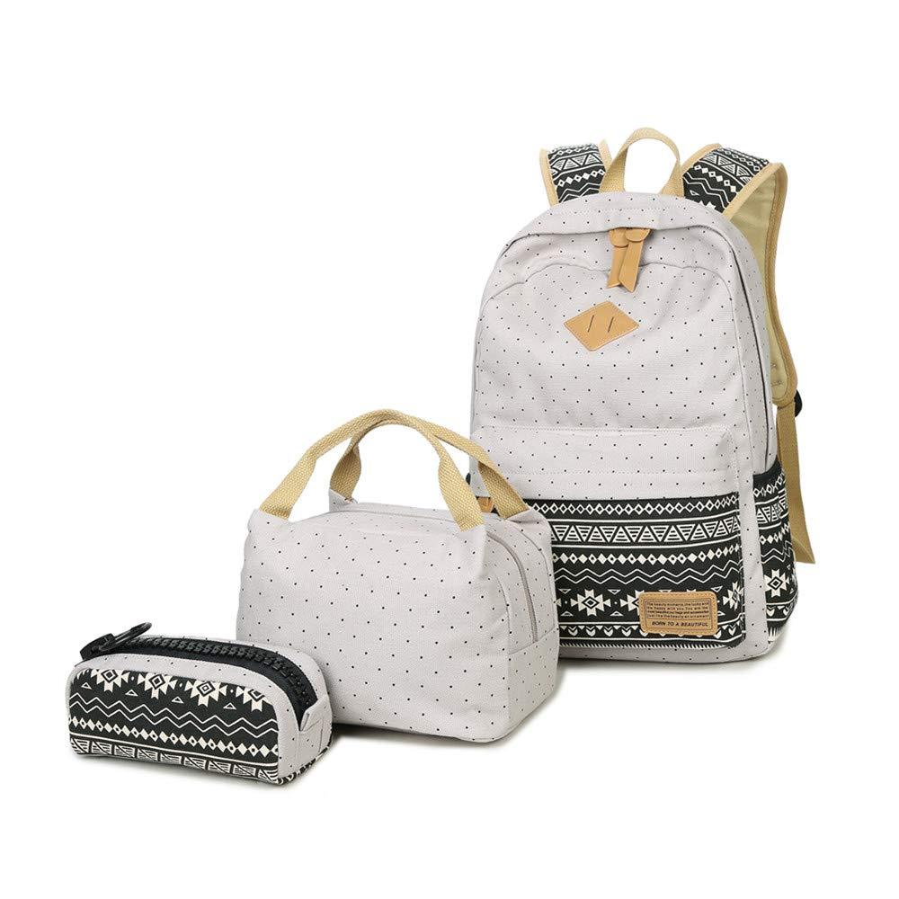 FuriGer Bookbag School Bag Set, 3 Pieces Canvas Laptop Backpack Daypack Teens Lunch Bag Pencil Pouch Purse Student Book Bag Pen Case Lunch Handbag Teen Girls