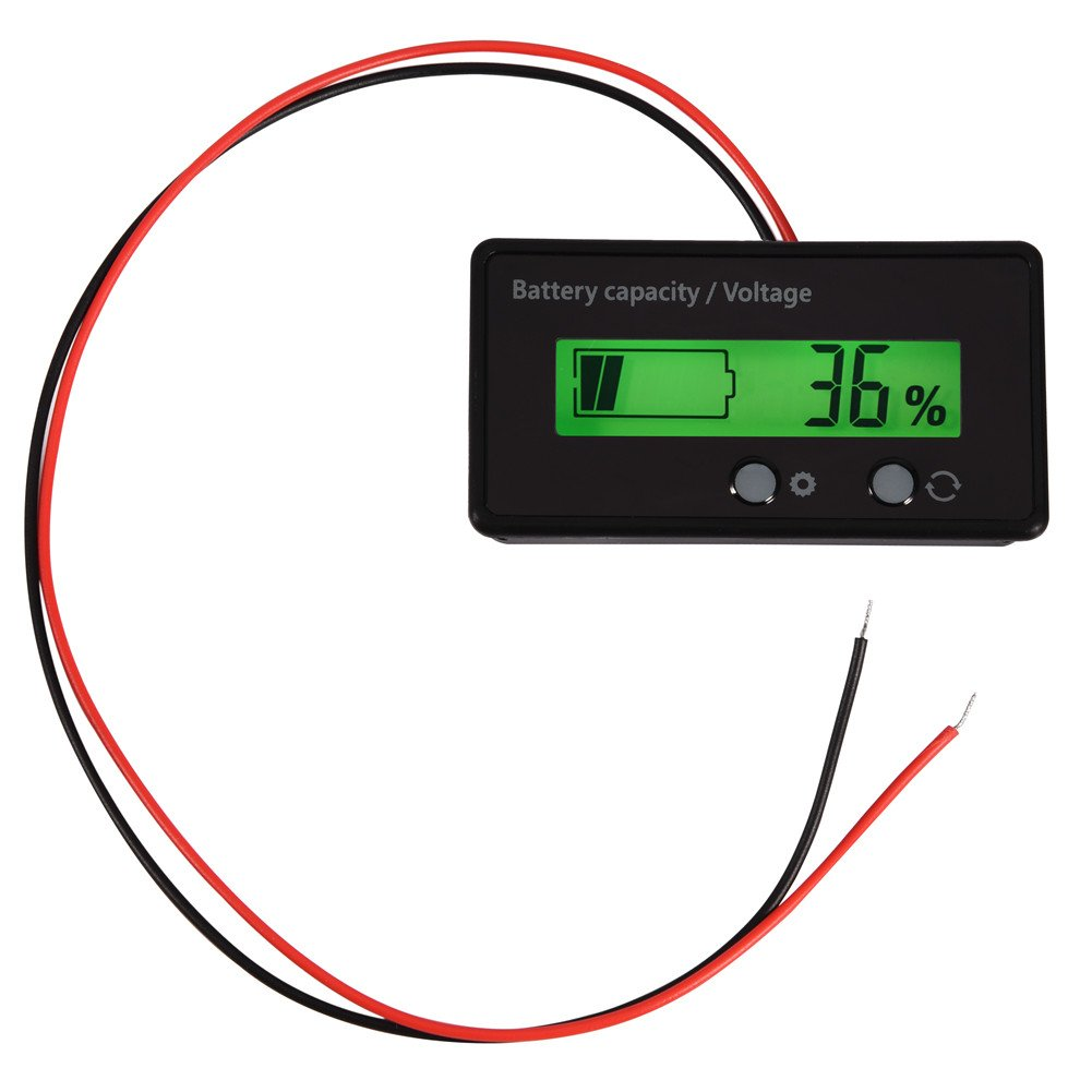 Richer-R LCD Display Backlit Universal Battery Capacity Meter, VoltageTester Voltmeter Monitor Support 12-48V Battery