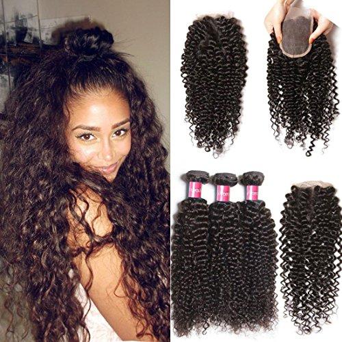 Longqi Beauty Brazilian Unprocessed Curly Virgin Human Hair Weave 3 Bundles with 1 piece Free Part Lace Top Closure 100% Human Hair (20 22 24 closure 14, Natural Color)