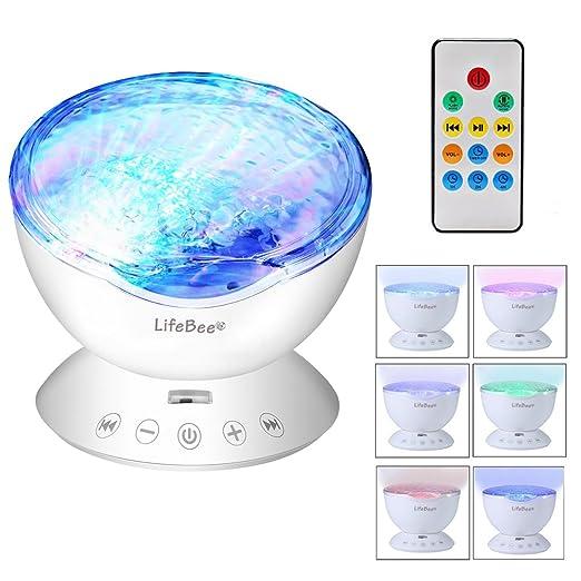 Lámpara de noche LED con proyector de olas de océano, 7 modos ...