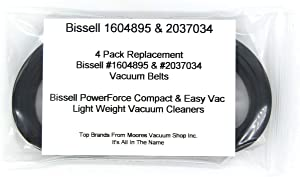 Bissell #1604895 & #2037034 PowerForce Compact & EasyVac Lightweight Replacement Vacuum Belts 4 Pack