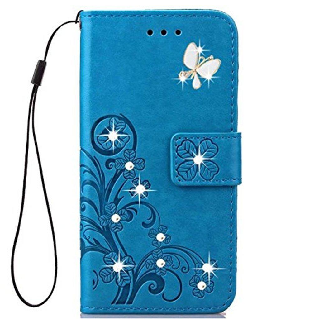 Joma-E Coque Huawei P20, faite à la main bling-bling diamant cuir de polyuréthane support rabat porte-cartes pour Huawei P20 Pro rose JOMA-E Shop