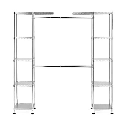 Com Seville Classics Double Rod Expandable Clothes Rack Closet Organizer System 58 To 83 W X 14 D 72 Ultrazinc Home Kitchen