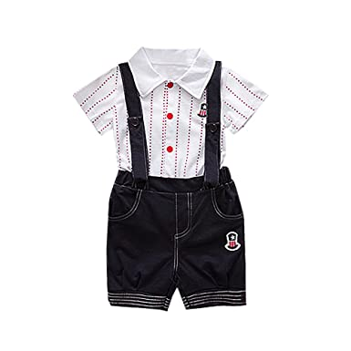 6558f4221 Littleice Mother's Day Gift Kids Baby Boys Summer Gentleman Bowtie O-Neck Short  Sleeve Shirt