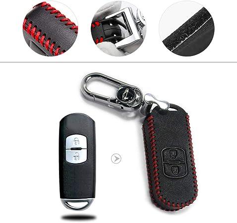 Muchkey Autoschlüssel Hülle Kunstleder Schutzhülle Schlüsselhülle Cover Für Cx7 Cx 5 Cx5 Acx 7 Cx 9 Mx5 Smart 2 Tasten Taste Roter Faden 1 Stück Auto