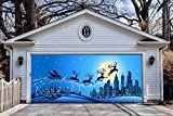 Christmas Banners Outdoor Decorations 3D Effect Garage Door Full Color Covers Murals Holiday Billboard for 2 Car Garage Door House Christmas Decor size 82x188 inches made in the USA DAV24