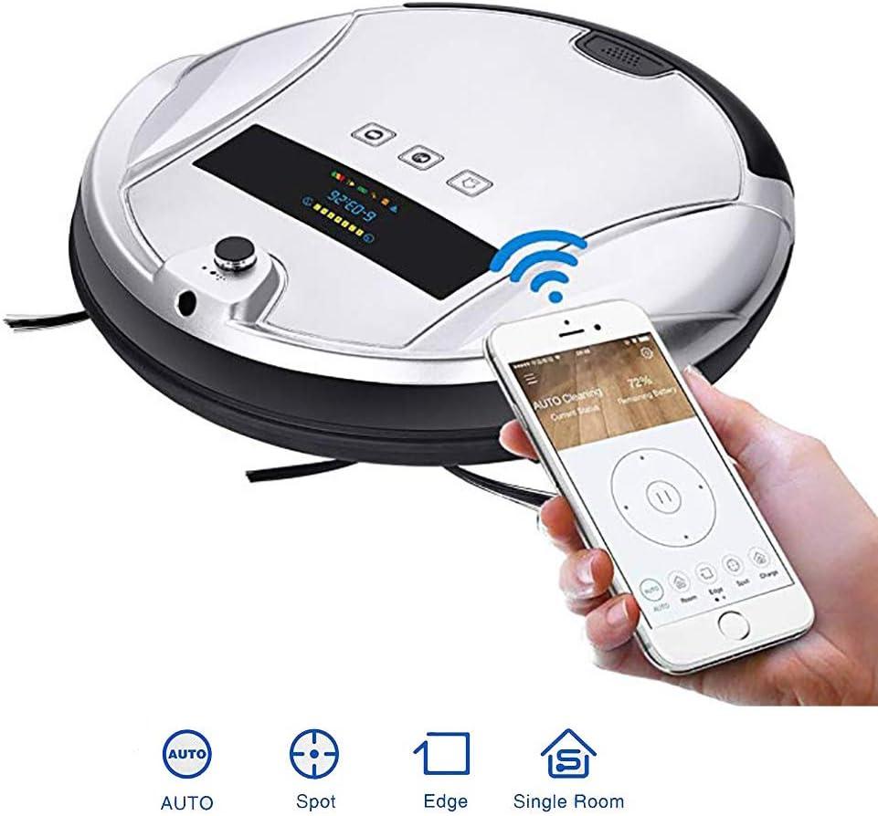 QLPP Robot Aspirador con Control App, cámara de 1 millón HD píxeles, Tanque de Agua de Control eléctrico (3 velocidades) y diseño Delgado para Pisos Duros y alfombras: Amazon.es: Hogar
