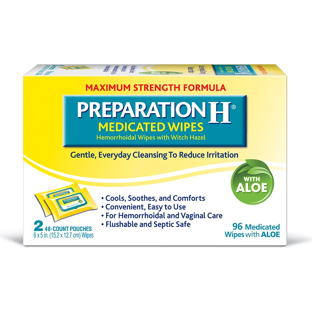 Preparation H (2 x 48 Count, 96 Count) Flushable Medicated Hemorrhoid Wipes, Maximum Strength Relief with Witch Hazel and Aloe, Pouch