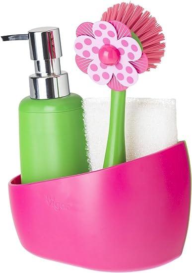 Dimensiones: 14 x 7 x 26.5 cm Esponja y Cepillo Lavaplatos VIGAR Flower Power Set Fregadero con Dosificador de Jab/ón Amarillo