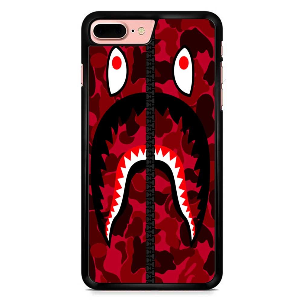 separation shoes 71af3 1806a Bape Shark Red Army iPhone 7 Plus Case Black