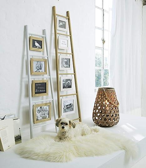 Portaretratos escalera para recostar en la pared, madera, blanco/natural, aprox 150