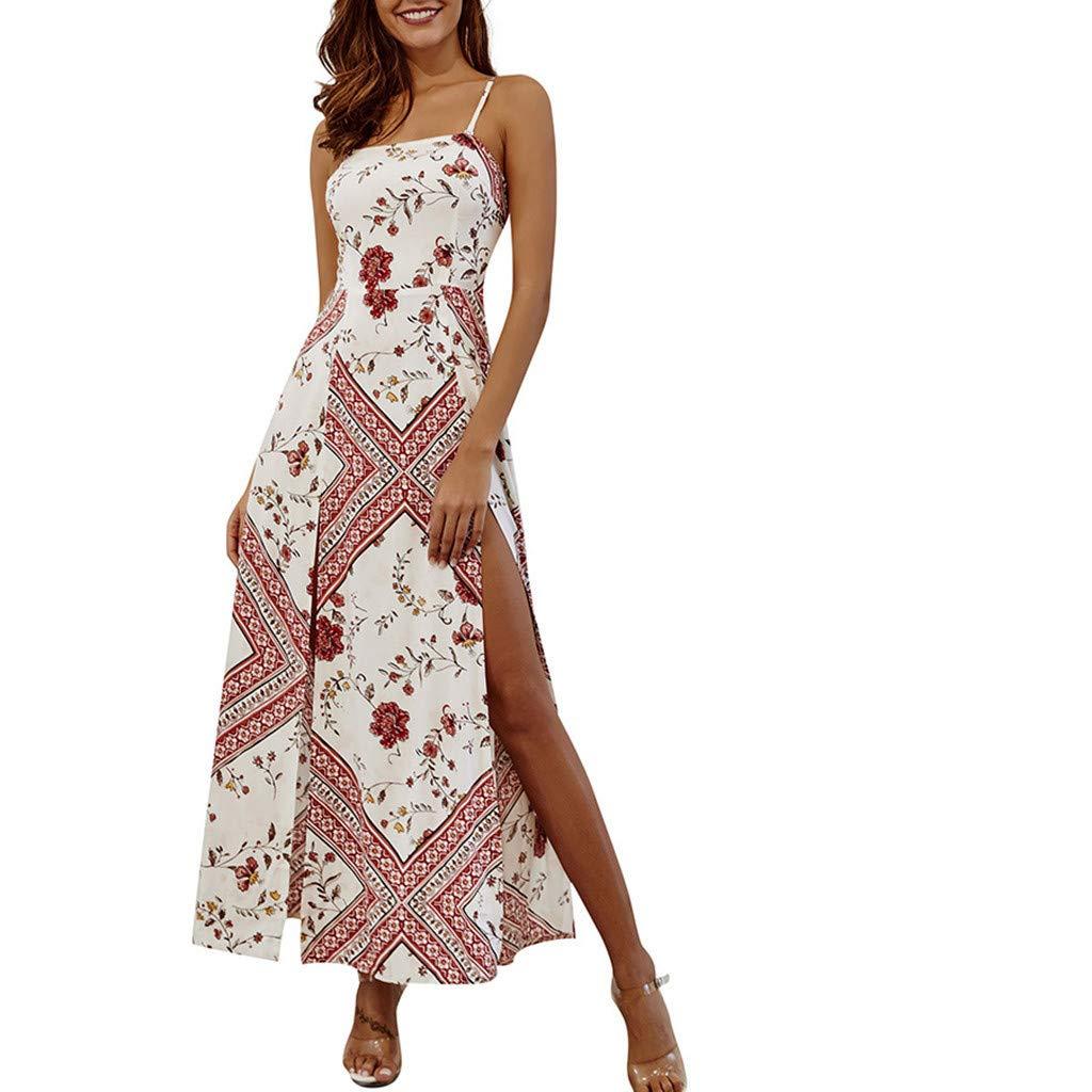VENMO 2019 Sommerkleider Blumen Lange äRmellos Abendkleid Strandkleid Party 50Er Hepburn Stil Hübscher Cocktailkleid Kleider Damen Frauen Sommerkleid Strandkleider Maxi Kleid