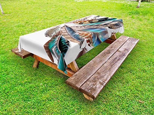 Ambesonne Feathers Outdoor Tablecloth, Vaned Types and Natal Contour Flight Bird Feathers and Animal Skin Element Print, Decorative Washable Picnic Table Cloth, 58 X 104 inches, Teal Brown by Ambesonne