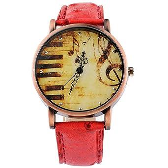 f55ff940baa466 MJARTORIA Damen Klein Armbanduhr Elegant Lederarmband Mode Damenuhr Analog  Quarz Uhr Rot