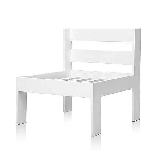 SUENOSZZZ - Sofa Jardin de Madera de Pino Color Blanco, MEDITERRANEO Mod. Respaldo. Muebles Jardin Exterior. Silla para Patio y terraza. Sillon sin ...