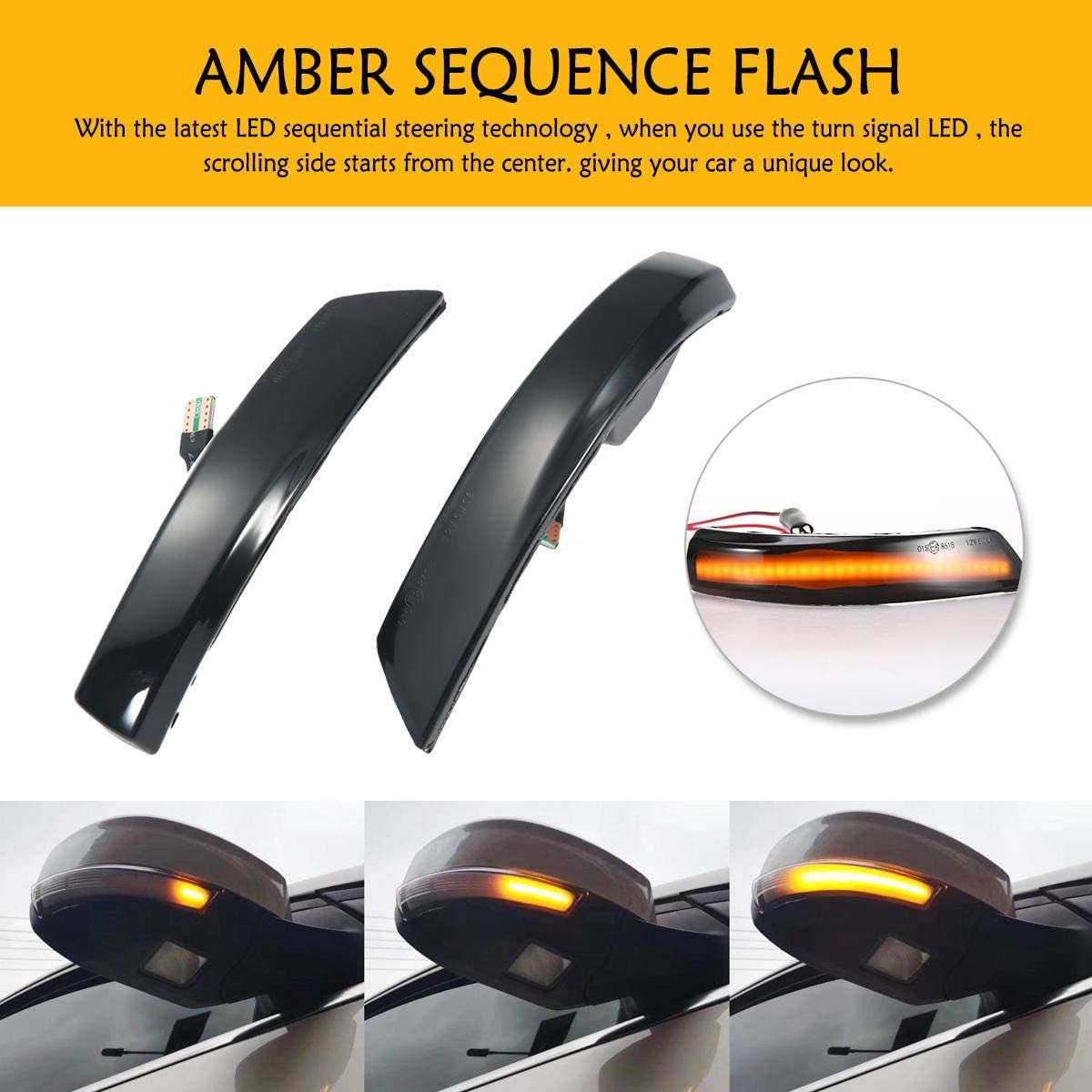 MOGOI Dynamisches sequentielles Blinken Rauchglas-LED Design f/ür flie/ßendes Wasser Kuga Blinkerlichtleiste f/ür Seitenspiegel f/ür Ford Focus 2012-2018,Ford Escape 2013-2019,Ford C-Max 2015-2018