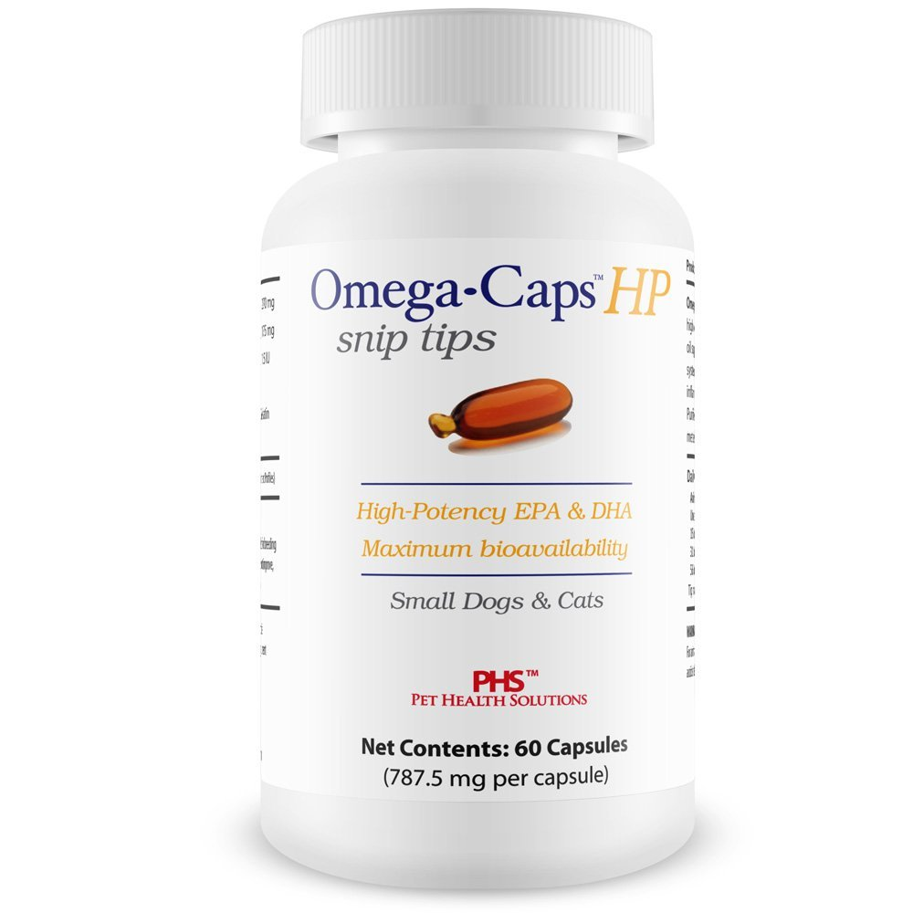 Omega-Caps HP Snip Tips Cats & Smaller Dogs - Omega 3, EPA, DHA, Vitamins, Minerals, Antioxidants - Support Immune System, Joints, Heart Brain - 60 Capsules