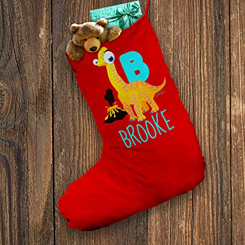 [Personalised Santa Christmas Stocking Red Baby Dinosaur Letter B X-Large - Approx 28cm x 57cm] (Animals That Start With The Letter B)