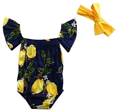 4945ae663 stylesilove Infant Baby Girls Lemon Off Shoulder Ruffle Sleeve Sunsuit  Romper with Headband 2 pcs Set