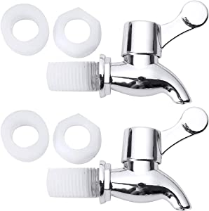 CHICTRY 2Pcs Silver Beverage Dispenser Replacement Faucet Tap Spigots for Homebrew Barrel Fermenter Wine Beer Beverage Juice Water Dispenser Type A 17mm