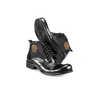 a43afbf846dc Modello Vieste - 39 - Handgemachtes Italienisch Leder Herren Schwarz Stiefel  Stiefeletten - Rindsleder Handgemalte Leder