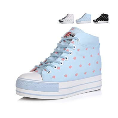 cfdb88ef517 Casual canvas shoes Ms. heavy-bottomed platform shoes Lace high shoes-