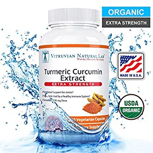 Vitruvian Natural Lab Turmeric Curcumin with BioPerine Extract Dietary Supplement - 1500mg/Serving - 120 Veggie Capsules