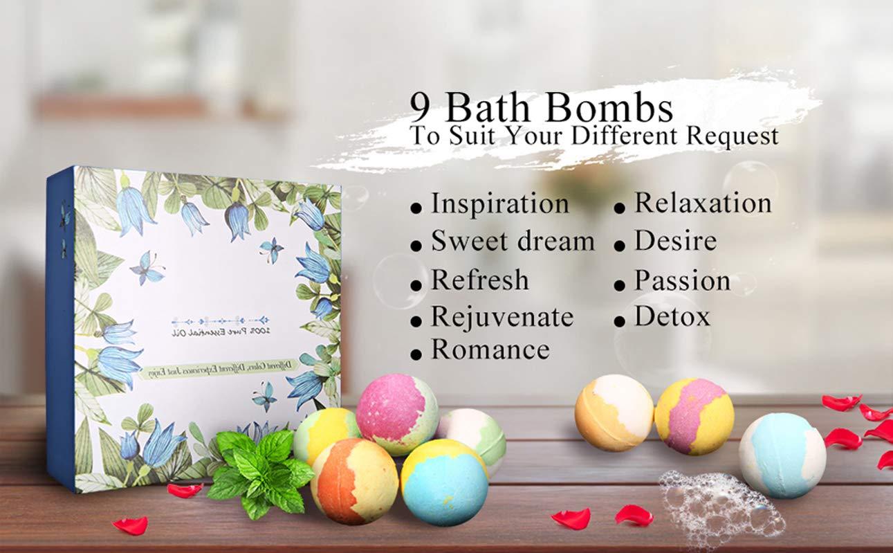 ESSORT Set Regalo Bombe da Bagno San Valentino Festa della Mamma, 9 × 60g Bath Bomb Handmade Creative Bath Salt Ball per Le Donne, Idea Regalo per Mamma e Fidanzata