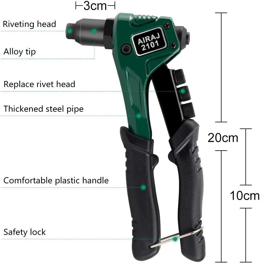 Nietpistole Holz und Kunststoff AIRAJ 4-in-1 arbeitssparender Handnietger/ät Enth/ält 100-teilige Nieten und 4 austauschbare D/üsen f/ür Metall Hochleistungs-Handnietmaschine mit Verriegelungsgriff.