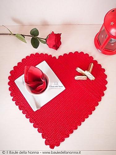 Tovaglietta Americana San Valentino A Cuore In Cotone Rosso