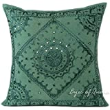 Eyes of India - 24'' Teal Mirror Embroidered Pillow Colorful Decorative Cushion Cover Throw Sofa Couch Bohemian Boho Seating IndianCover Only