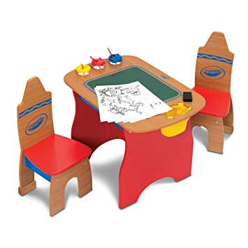 Crayola Creativity Wooden Table and Chairs Set  sc 1 st  Amazon.com : crayola chair and table set - pezcame.com
