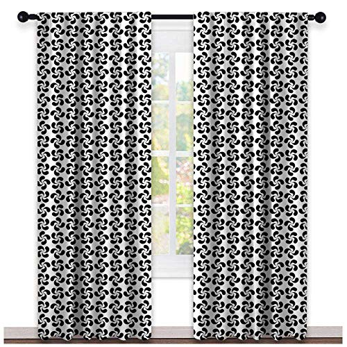 Pinwheel, Sound Curtains Noise Reducing, Flower Leaves Shaped Wind Wheels in Modern Tones Classic Artistic Pattern, Curtains for Living Room, W108 x L108 Inch Black and White