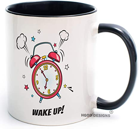 Amazon Com Hgod Designs Funny Clock Coffee Mug Comic Alarm Clock Ringing And Expression With Wake Up Coffee Tea Mug For Women Men Birthday Gift Valentina S Gift Christmas Gift 11oz White Black Cup Kitchen Dining