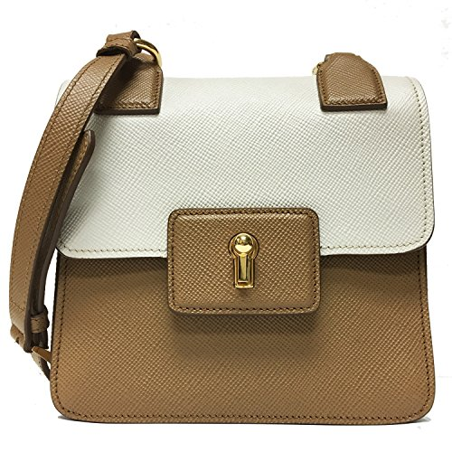 (Prada Saffiano Cuir Pattina Caramel Beige & Talco White Leather Shoulder Bag BT1015)