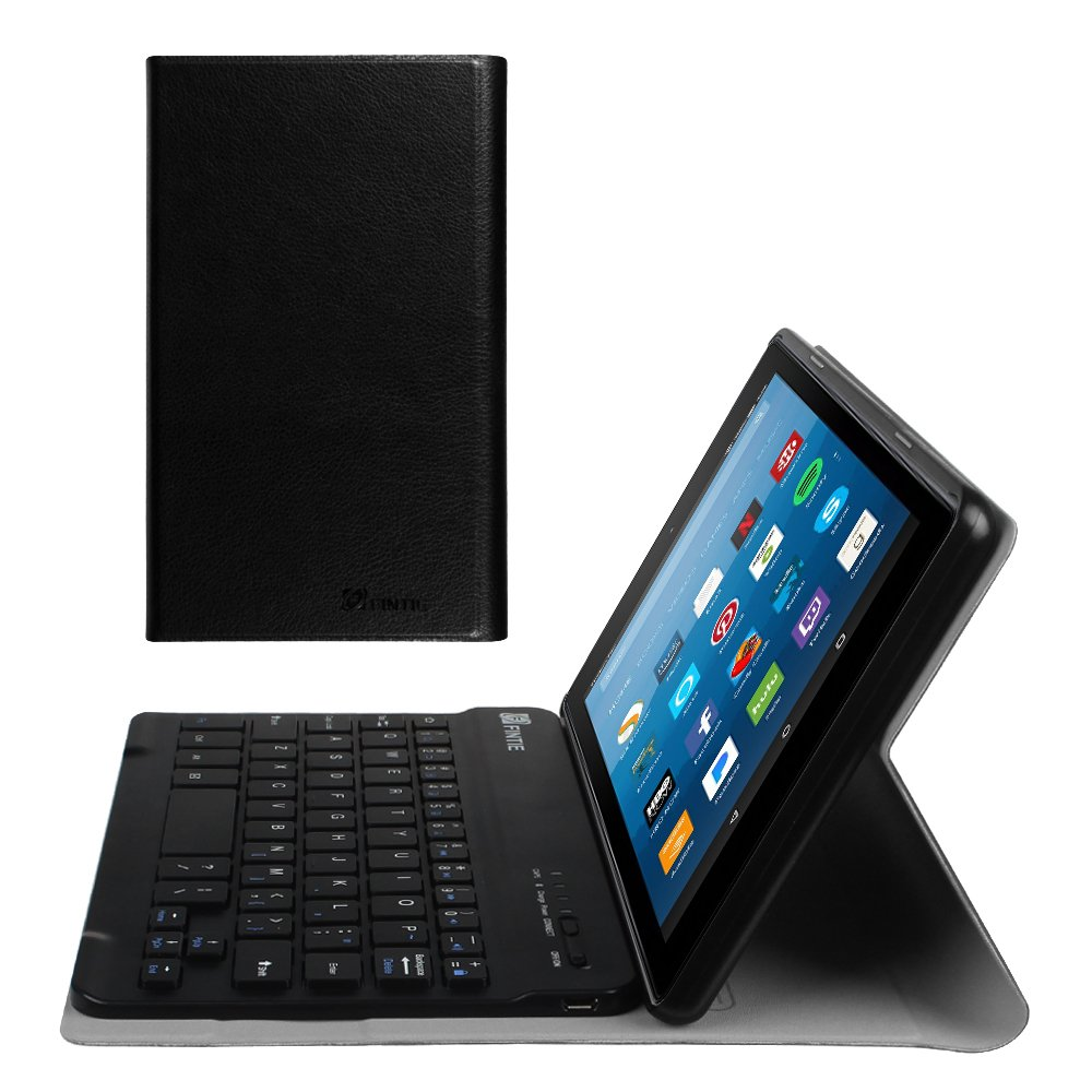 Fintie Slim Keyboard Case for All-New  Fire HD 8 (7th Generation, 2017 Release), Slim Shell Lightweight Stand Cover with Magnetically Detachable Wireless Bluetooth Keyboard (Black) CEN1056US