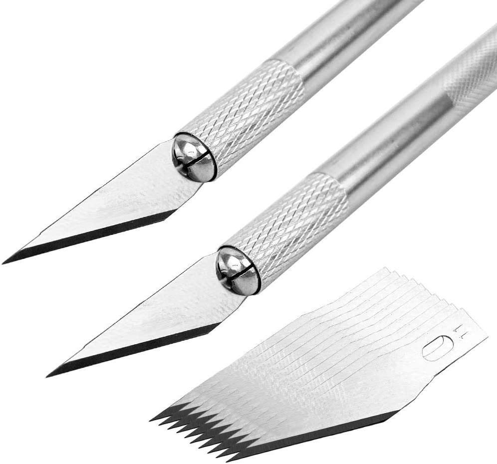 GUGUGI 2Pack Precision Carving Craft Knife Stainless Steel Hobby Knives with Safety Cap and 10Pcs Knife Blades for DIY Art Work Cutting Caving Knife Sculpture Phone PC Tablet Drone Repair