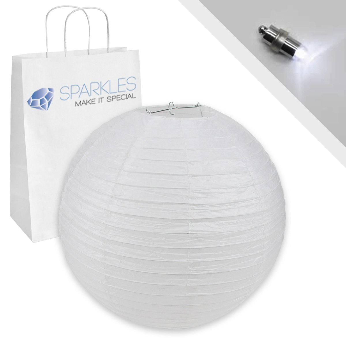 Sparkles Make It Special 25-pcs 20'' inch Chinese Paper Lantern - White - w/LED Lights - Wedding Party Event Decoration - 13 Colors and 8 Sizes Available