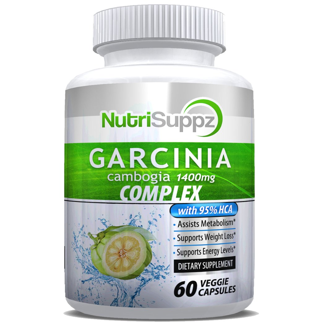 100% Pure Garcinia Cambogia Complex | 95% HCA Weight Loss Pills | Elite Diet Supplement for Women and Men | Supports Fast Weight Loss and Curbs Appetite | 1400mg - 60 Count by NutriSuppz