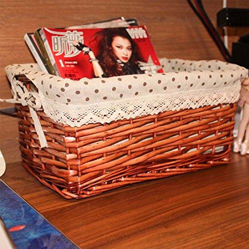 Mahogany Rattan Table (Wuyulunbi@ Liu Rattan Series Receive Basket Storage Basket Basket Desk Box 352517,C)