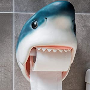 Shark Dolphin Toilet Paper Roll Holder Wall Mounted Personality Resin Suction Toilet Paper Dispenser Adhesive Towel Rack for Bathroom Kitchen Livingroom Shop Hotel (Pattern : Shark)