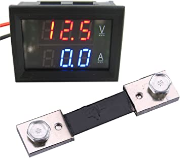 Mini Digital Current Voltage Meter Ammeter Digital LED Voltmeter Ammeter Round Gauge Current Meter Fit for Motorcycle Car Boat