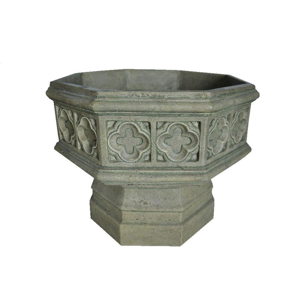MPG 19.5 in. H Granite Cast Stone Gothic Urn