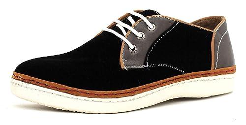 CABALLEROS Zapatos de Diario Imitación Ante Cordones Inteligente Zapatillas - Azul/Gris, 39.5 EU