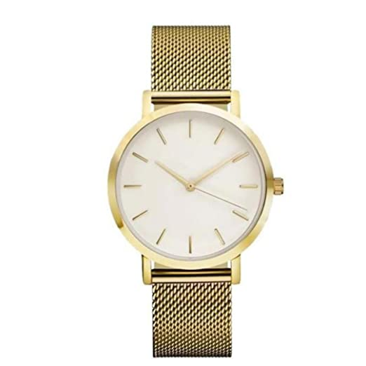 QinMM Reloj análogo de cuarzo para mujer, correa de malla (Dorado)