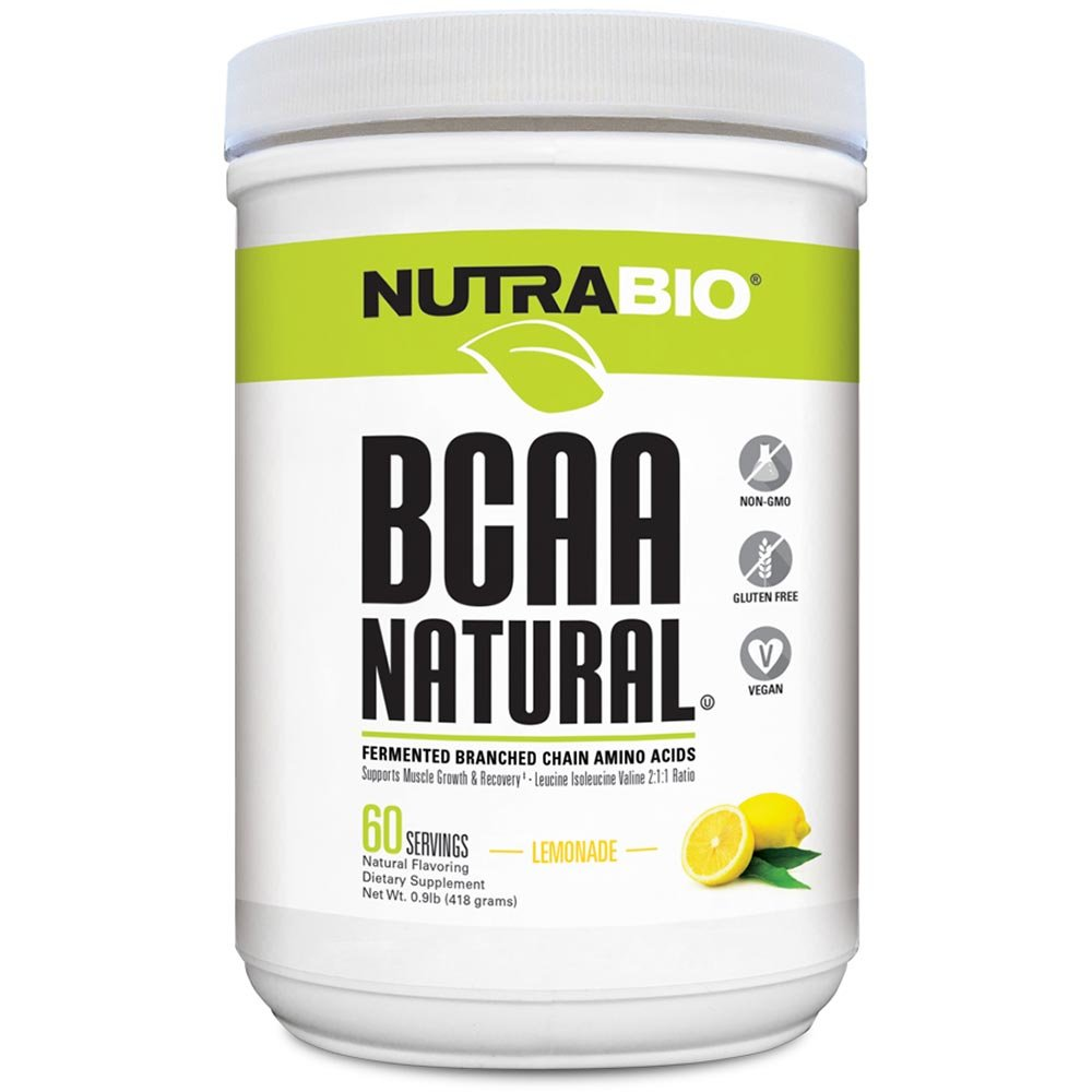 NutraBio BCAA Natural Powder - 60 Servings (Lemonade)
