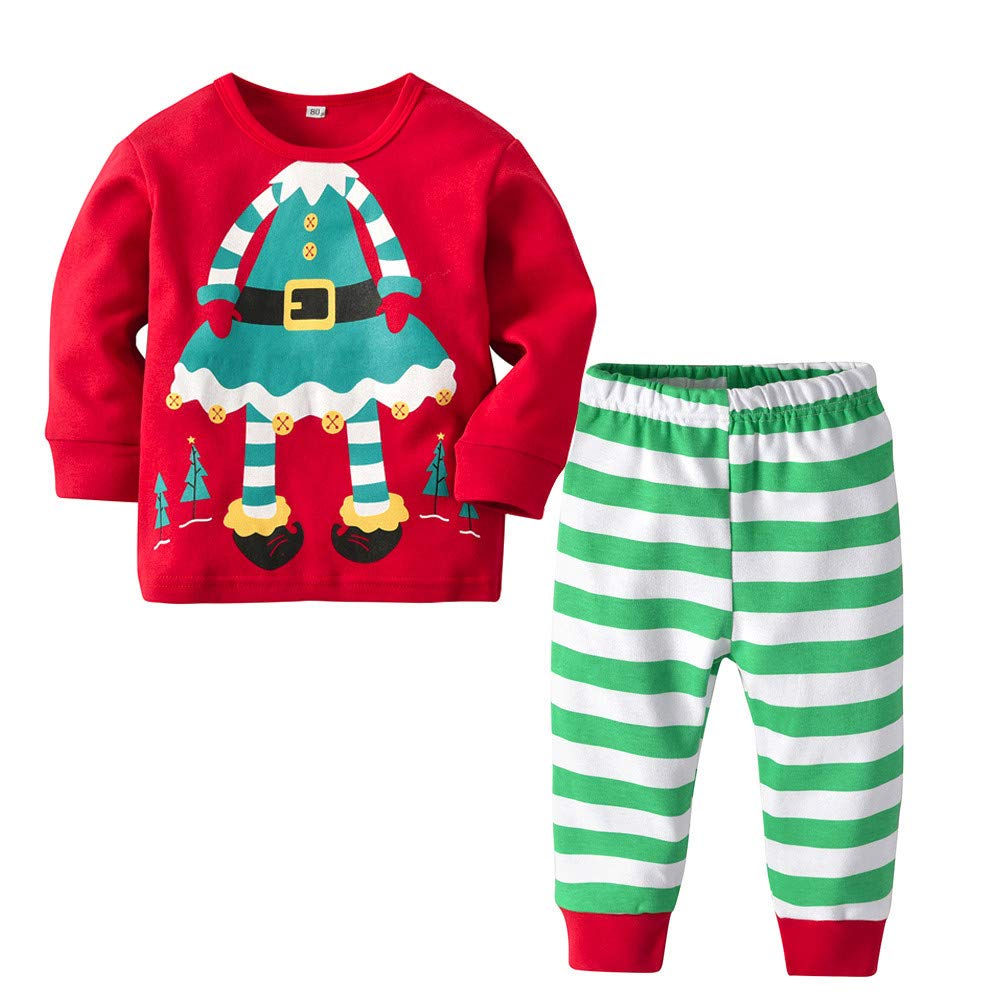 2PCS Christmas Toddler Baby Clothes Set Vovotrade Infant Girls Boy Cute Cartoon Long Sleeve Tops Striped Pants Sets Cotton Warm Outfit Clothes Newborn Xmas Set Age for 1-5 Years Old