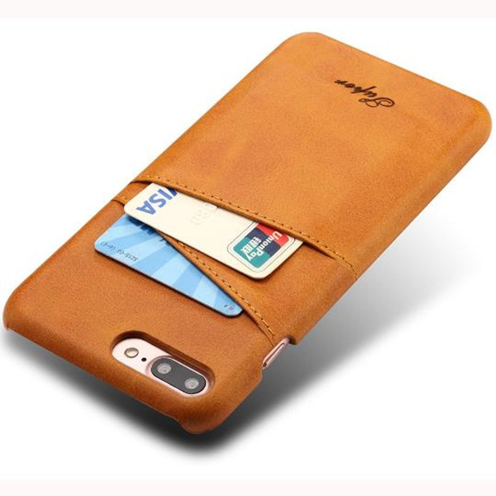 iPhone 7 Plus Luxury Synthetic Leather Case,Aulzaju iPhone 8 Plus Super Slim Cow Leather Credit Card Case Fashion Comforatable Wallet Cover for iPhone 7 Plus/8 Plus-Yellow